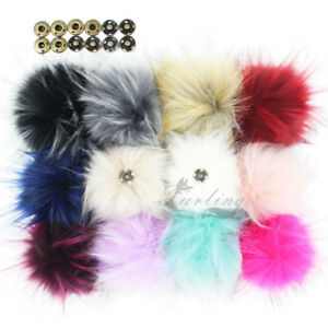 Pack of 12pcs Faux Raccoon Fur Pompom Balls with Press Button for Beanie Hat 5 Inches Hot Pink
