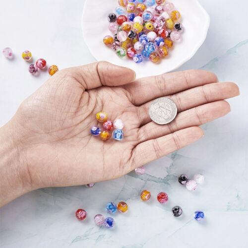100 pcs 8mm Round Handmade Luminous Inner Flower Lampwork Beads Mixed Hole 1mm