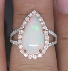 Natural-Opal-European-Cocktail-Ladies-Diamond-Ring-14K-Two-Tone-Gold-Very-Nice