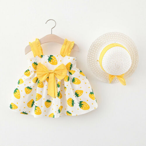 Toddler Baby Kids Girls Summer Print Sleeveless Party Princess Dress Hat Outfits