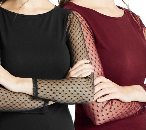 New Women M/&S Black Wine Slash Neck Long Sleeve Jersey Top UK 14-24 Debranded