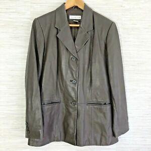 Preston-amp-York-Women-039-s-Medium-Jacket-Dark-Brown-Soft-Leather-Button-Up-Coat