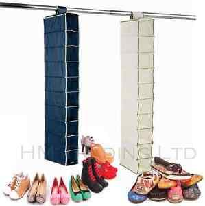 New-10-Pockets-Hanging-Shoe-Clothes-Rack-Shelf-Storage-Wardrobe-Hanger-Organiser
