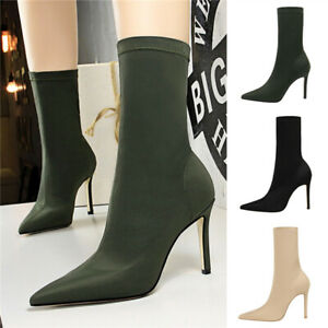 Women Lace Up Ankle Boots,Classic Thin High Kitten Heels Pointed Toe Shoes Waterproof Casual Party Stiletto Booties