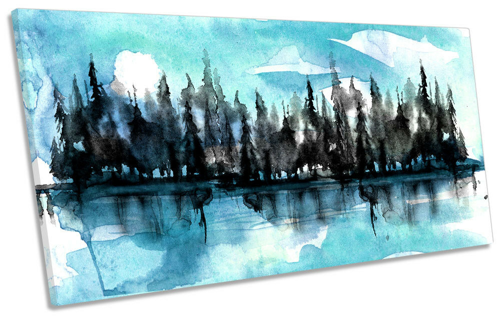 Forest River Watercolour Trees Framed PANORAMIC CANVAS PRINT Wall Art
