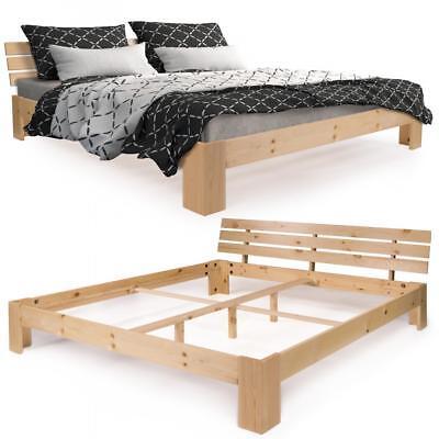 Homelux Holzbett Kiefer Doppelbett Bett-Gestell Rahmen Latten 140/180cm MASSIV