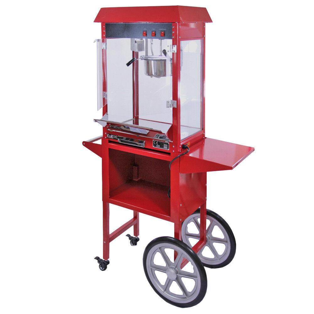 Palomitera Profesional Comercial KuKoo en Acero Inoxidable con Carrito rouge