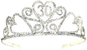 Happy-30th-Birthday-Silver-Glitter-Tiara-Crown-Gift-Costume-Accessory-Novelty