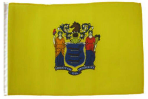 """12x18 12/""""x18/"""" State of New Jersey Sleeve Flag Boat Car Garden"""