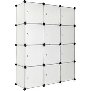 steckregal mit t ren schrank regal kunststoff kleiderschrank schuhregal wei ebay. Black Bedroom Furniture Sets. Home Design Ideas