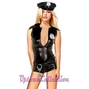 Ladies-Police-Uniform-Costume-Halloween-Fancy-Dress-amp-Hat-Baton-Cuffs-Size-M-amp-L