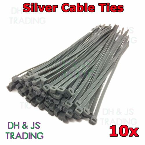 Extra Long Silver Cable Ties 300 x 4.8mm - High Quality Wheel Trim Ties - 10pcs