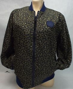 136791b4f292 Image is loading New-Womens-CONVERSE-Large-Navy-Leopard-Reversible-Jacket-