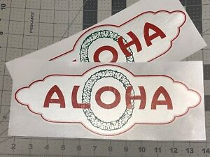 ALOHA-Vintage-Travel-Trailer-decal-Early-style-1954-59-red-green-amp-silver-Set-2