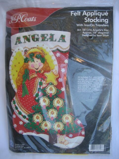 J P Coats Angelas Star Angel Felt Applique Embroidery Christmas