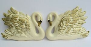 Miller-Studio-Chalkware-Swan-Wall-Plaques-Set-of-2-Pearlized-White-Gold-1968-Vtg