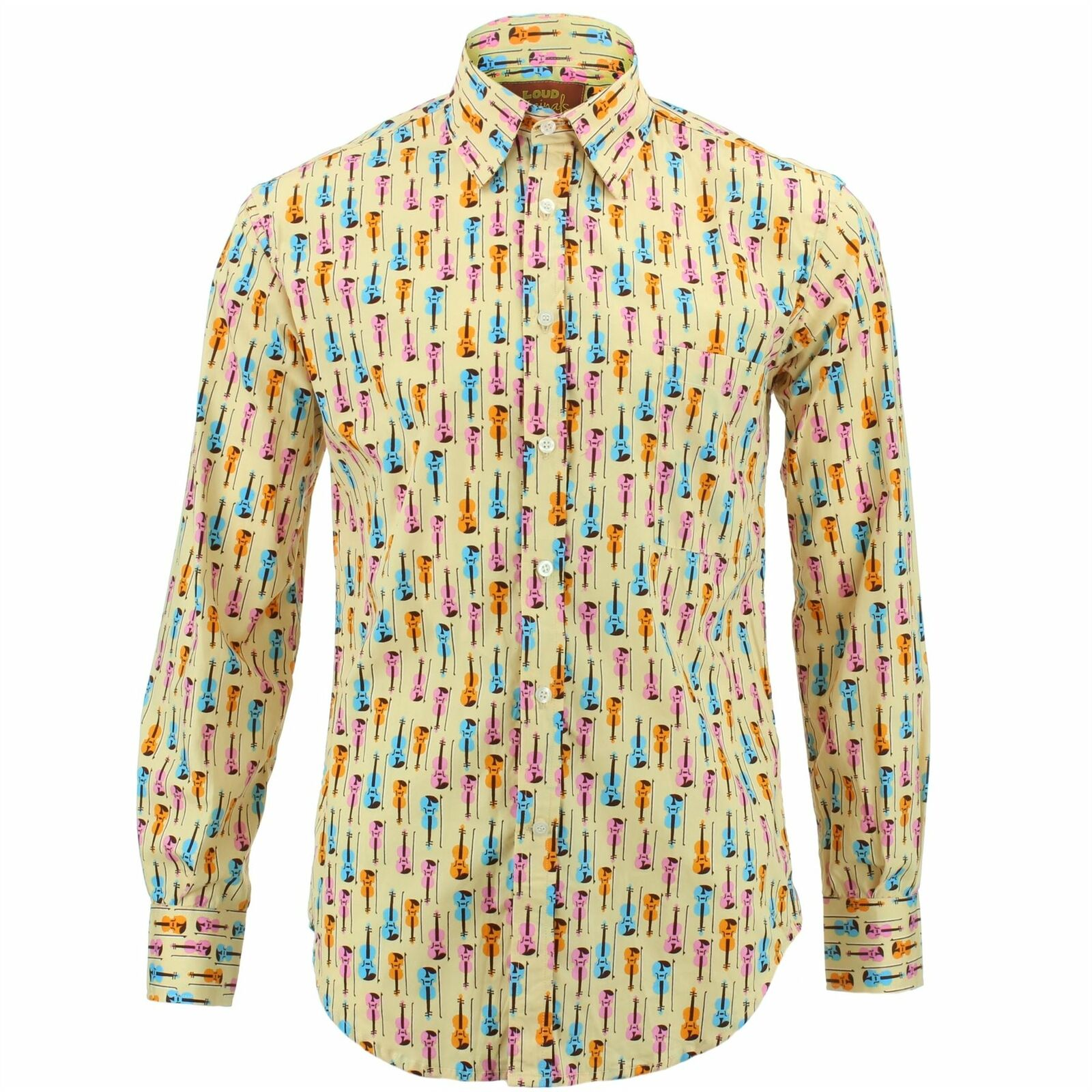 Mens Shirt Loud Originals REGULAR FIT Music Gelb Retro Psychedelic Fancy  | Neuer Stil