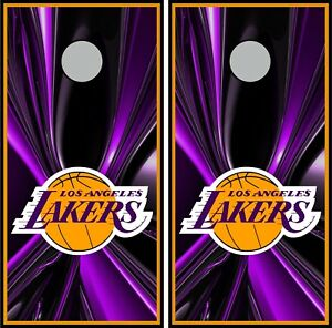 Amazing Details About La Lakers 0411 Cornhole Board Game Decal Wraps Bean Bag Skins Machost Co Dining Chair Design Ideas Machostcouk