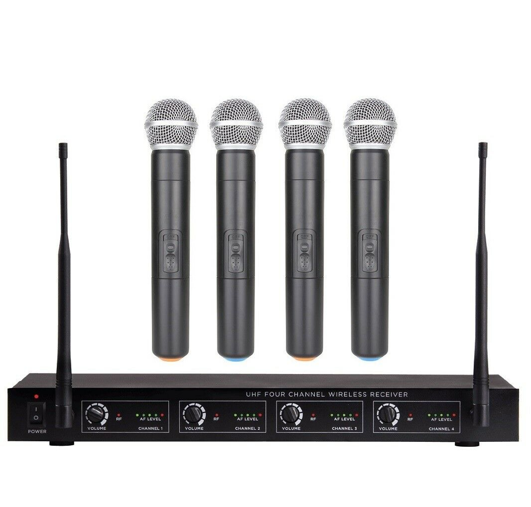 4 Microphone Wireless System Professional Karaoke Microphone PA Speaker Church