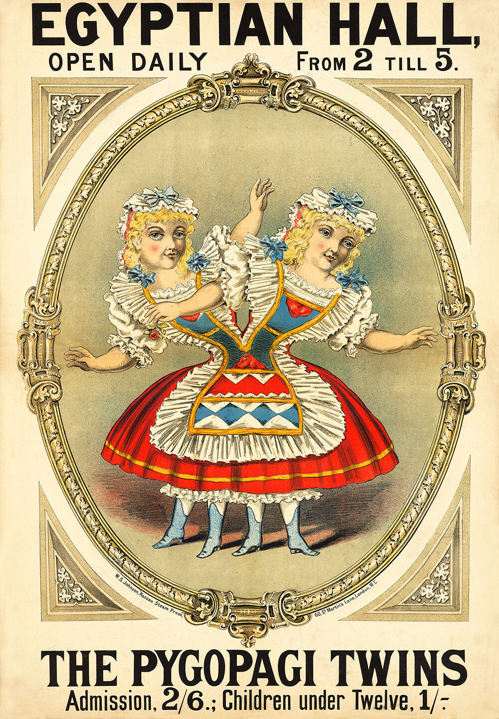 Freak Show Poster   Egyptian Hall - The Pygopagi Twins  (c1880) — Fine Art Print