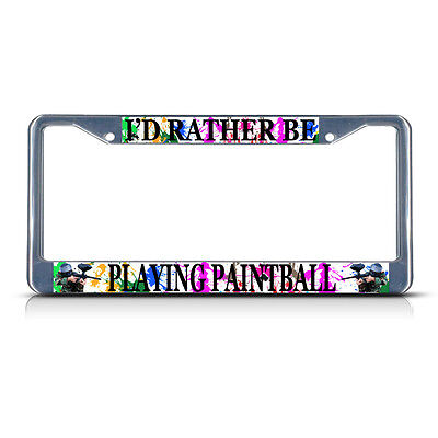 I/'D RATHER BE HUNTING Metal License Plate Frame Tag Border Four Holes