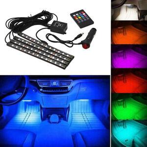 12V-Coche-Interior-RGB-LED-Tira-Luces-decoracion-de-luz-ambiente-de-pie-Control-Remoto