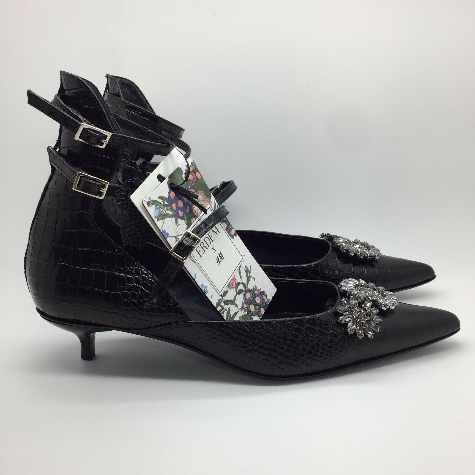 ERDEM H&M LEATHER PUMPS WITH RHINESSTONES