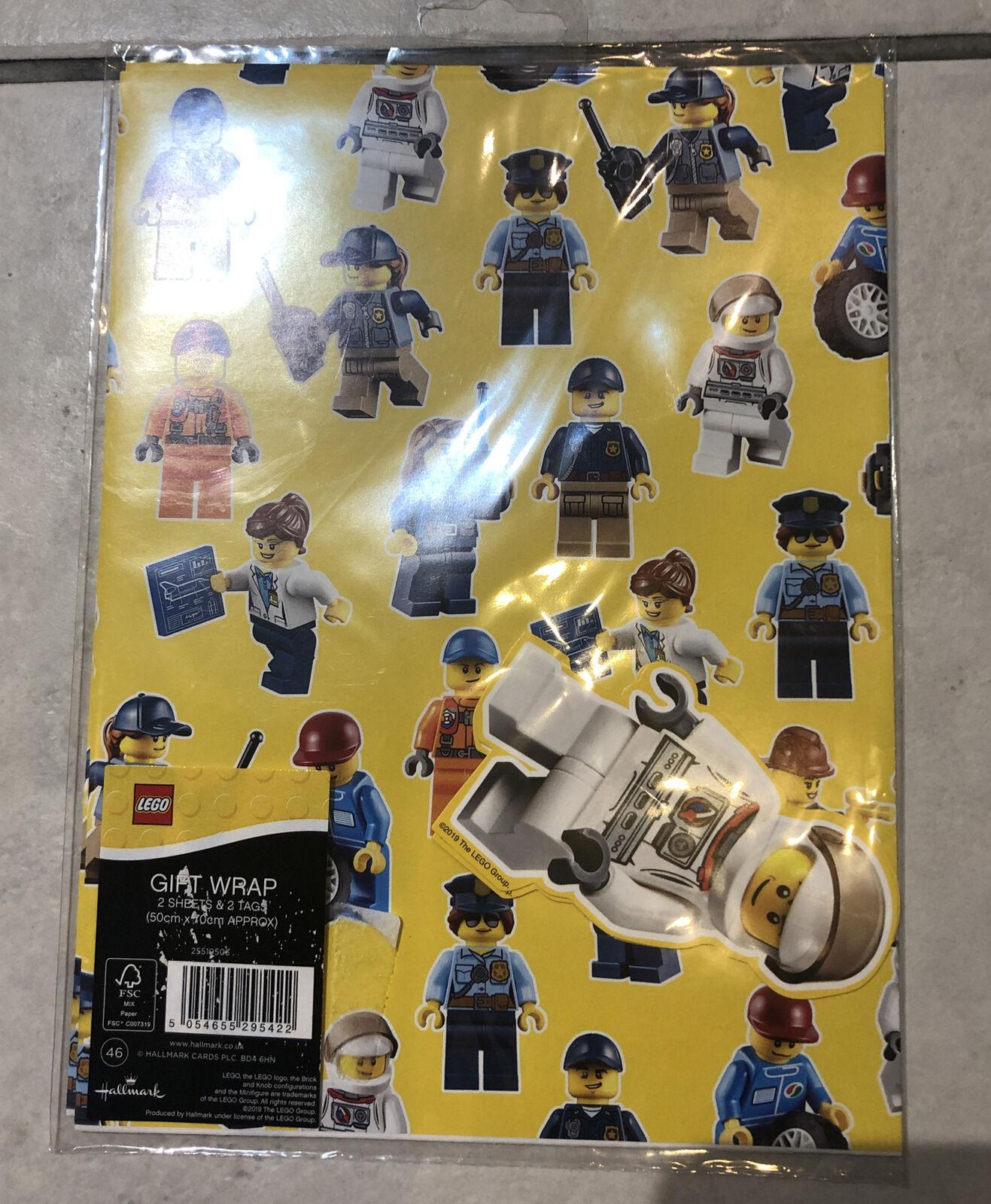 1 x hoja de papel de envoltura de Lego (paquete de 2) con las etiquetas