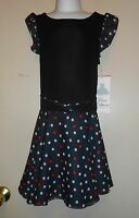 Rare Editions Girls Dropped Waist Polka Dot Dress Black Seven (7)