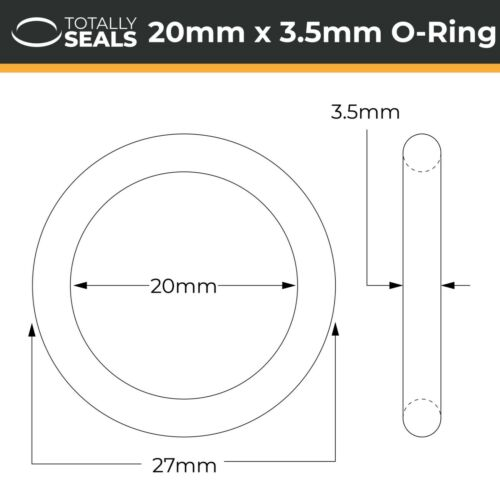 20mm Inner Diameter x 3.5mm Cross Section 20x3.5 Nitrile O-rings 27mm OD