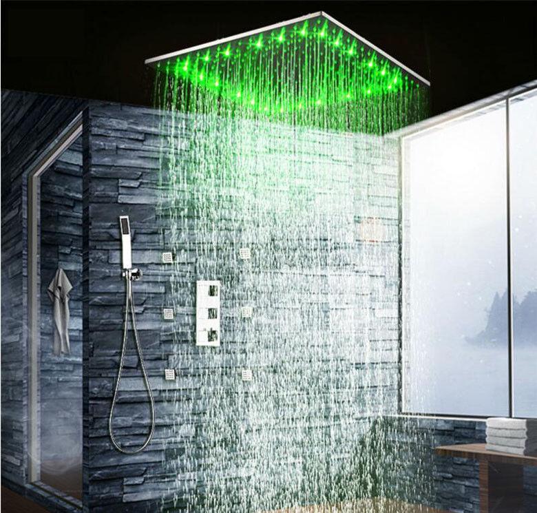 20  Led Cabezales de ducha de lluvia conjuntos de Baño Grifo del Baño Mezclador Termostático Válvula