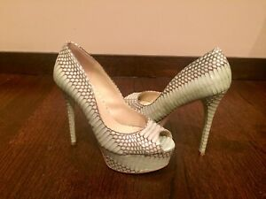 4fb81340a2b Details about Brian Atwood Snakeskin Peep Toe Pump size 8