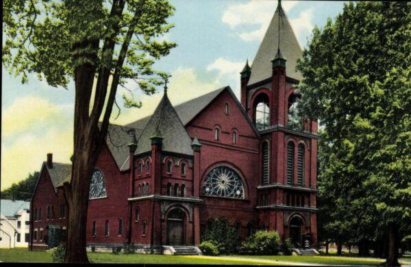 Postkarte Ansichtskarte Ak Pk Farbig Ungelaufen First Babtist Church Karte Usa