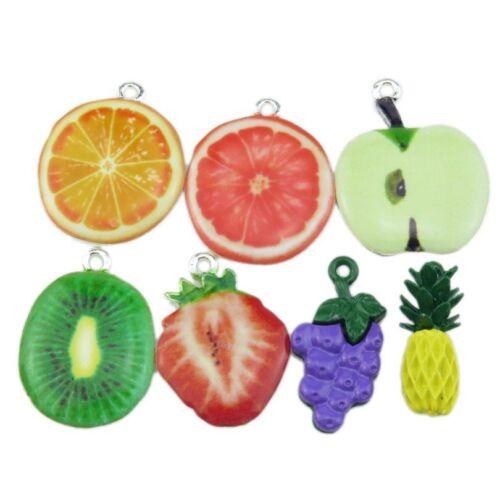 4pcs alliage émail fruits étoile de David tour eiffel hibou Apple Ghost raisin Pendentif