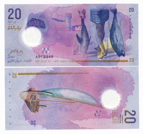 Maldives 20 Rufiyaa 2015 P 27 Polymer UNC Note Stunning Design