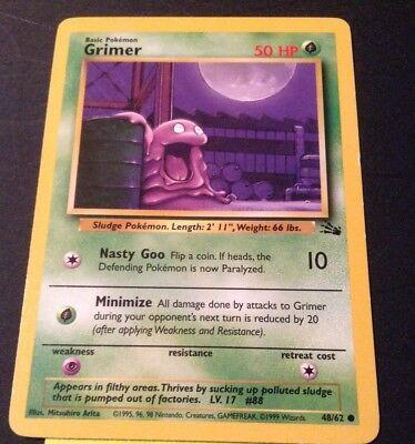 Grimer 48//62 1st Ed Fossil Set Common Pokemon Card GD-EX