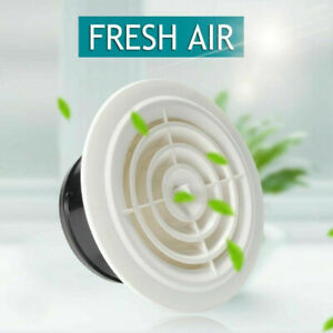 Round-Air-Vent-ABS-Louver-White-Grille-Cover-Adjustable-Exhaust-Fit-Bathroom