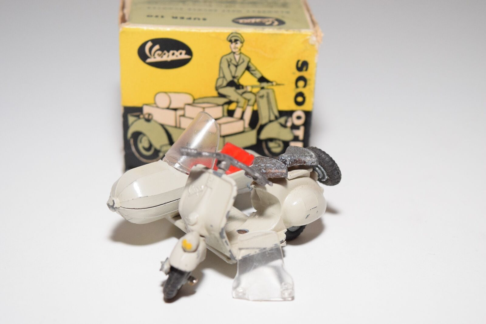 TEKNO DENMARK 443 VESPA SCOOTER WITH SIDECAR CREAM EXCELLENT BOXED RARE