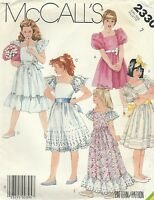 Mccall's 2330 Girls' Dress And Tie Belt Size 7 Sewing Pattern