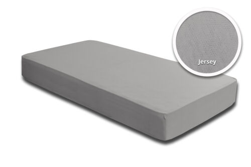 2 Topper Spannbettlaken silber 140x200 cm 160x200 cm Jersey Baumwolle Set