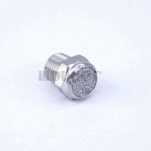 "1//8/""BSP Male Thread Stainless Flat Cylinder Pneumatic Silencer Muffler Connector"