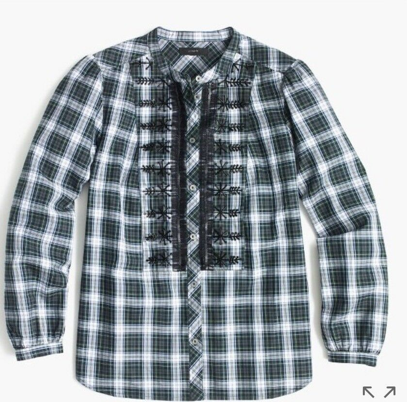 New J Crew Embellished Button-up Shirt in Forest Tartan Multi  Sz M H2215