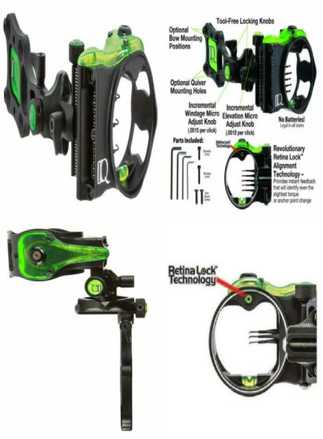 IQ Bowsights Pro One Compound Bow Archery Sight with Retina Lock Technology 1 Pin Left and Right Hand