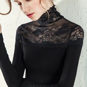 deea479a New Womens Lace Slim Top Turtleneck Sexy Shirts Long Sleeve Top OL ...