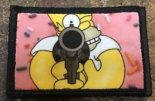 Homer Simpson Donut Morale Patch Tactical Military Army  Hook Flag USA Flag