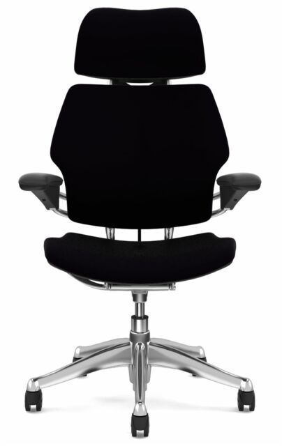 HumanScale Freedom Black Leather Aluminum Ergonomic Computer Office Desk  Chair