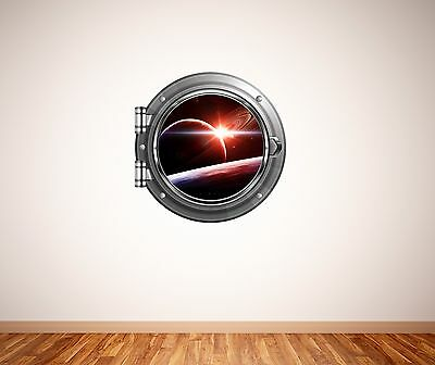 Planets in the solar system space scene porthole wall sticker 039