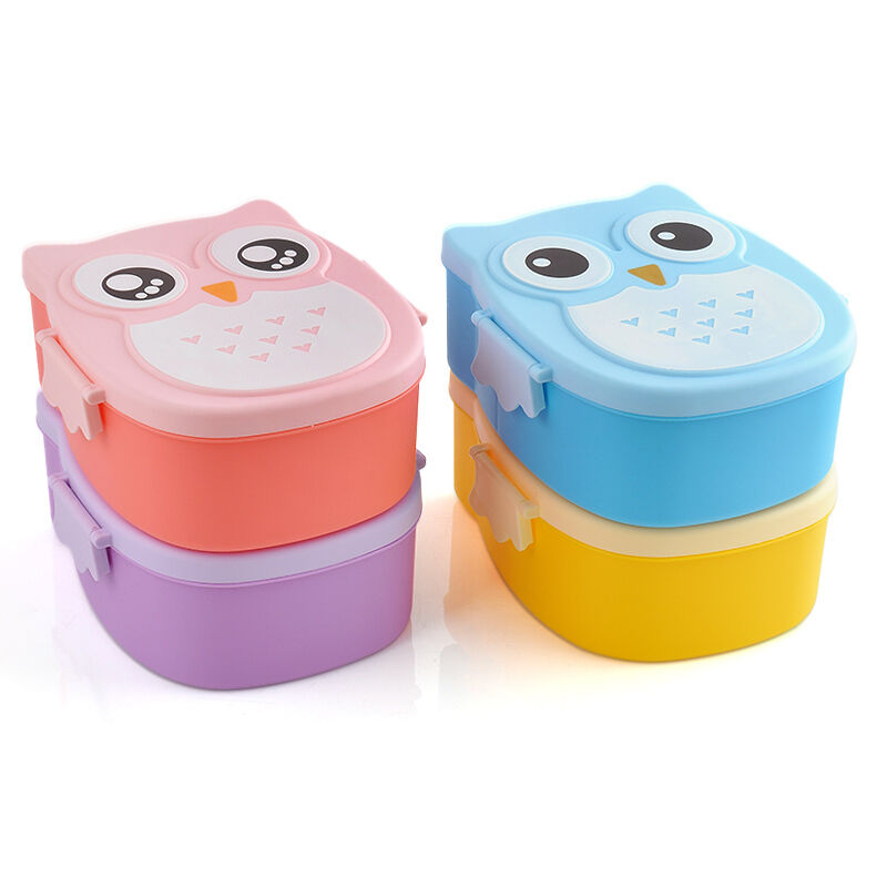 Portable Cute Cartoon Owl Lunch Box Food Container Storage ...
