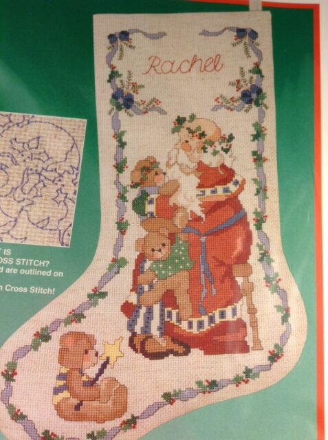 Dimensions Santa and Bears Christmas Stocking Kit No Count Cross Stitch Teddy