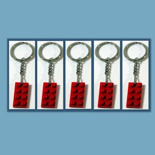 Party Favor 5 Lot Key Chain w// Lego 3020 2x4 Red brick Plate Gift Game Prize